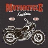 Motocicleta en la impresión oscura de la camiseta del vector del fondo ilustración del vector
