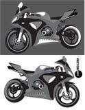 Motocicleta, equipo del cuerpo de deportes, vector monocromático aislado en fondo blanco y negro Moto Sportbike transporte Imagen de archivo libre de regalías