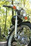 Motocicleta estacionada nas árvores Imagem de Stock Royalty Free