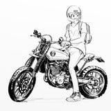 Motocicleta fresca del montar a caballo del hombre Fotografía de archivo