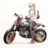 Motocicleta fresca del montar a caballo del hombre Imagen de archivo