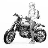 Motocicleta fresca del montar a caballo del hombre Fotos de archivo