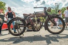 Motocicleta indiana caracterizada na feira automóvel Foto de Stock
