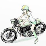 Motocicleta linda del montar a caballo de la muchacha Imagen de archivo