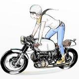 Motocicleta linda del montar a caballo de la muchacha de la historieta imagenes de archivo