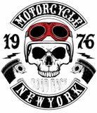 Motocicleta Logo Graphic Design de la camiseta del cráneo Imagen de archivo