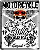 Motocicleta Logo Graphic Design de la camiseta del cráneo Fotografía de archivo libre de regalías