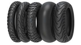 A motocicleta monta pneus o passo do pneu do ot ilustração 3D Imagem de Stock