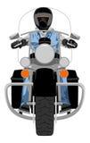 Motocicleta pesada do interruptor inversor com opinião dianteira do cavaleiro Fotografia de Stock