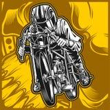 Motocicleta que compete o desenho da mão do vetor ilustração stock