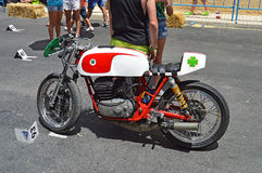 Motocicleta que compite con clásica de Ossa imagenes de archivo