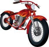 Motocicleta roja con el gráfico ardiente Fotos de archivo libres de regalías