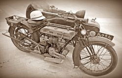 Motocicleta & side-car antigos Foto de Stock