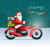 Motocicleta vermelha retro com Papai Noel e caixas de presente Feliz Natal ilustração royalty free