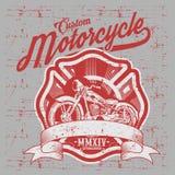 Motocicleta Vista lateral D? la bici cl?sica exhausta del interruptor en estilo del grabado stock de ilustración