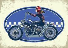 Motocicletas del interruptor del paseo del motorista de la señora con textura del vintage ilustración del vector