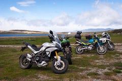 Motocicletas en Ushuaia, la Argentina Fotos de archivo
