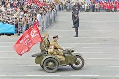 Motocicletas militares rusas en el desfile en Victory Day anual Fotografía de archivo libre de regalías
