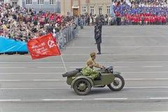Motocicletas militares rusas en el desfile en Victory Day anual Imagen de archivo