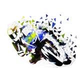 Motocicletta che corre, illustrazione poligonale della strada illustrazione di stock