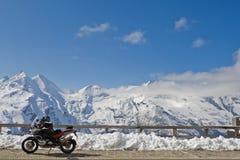 Motocicletta in Grossglockner, Austria Immagine Stock