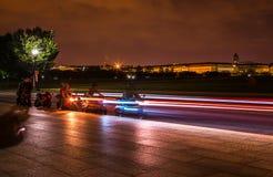 Motocicli che cominciano alla notte in Washington DC Fotografia Stock Libera da Diritti