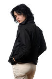 Motociclista in abbigliamento casuale nero Immagine Stock Libera da Diritti