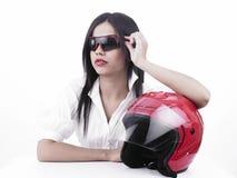 Motociclista asiatico della ragazza Immagini Stock