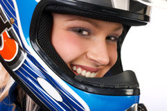 Motociclista bonito feliz. Foto de Stock
