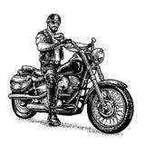 Motociclista che guida un motociclo Illustrazione incisa vettore Immagine Stock