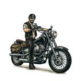 Motociclista che guida un motociclo Illustrazione incisa vettore Immagini Stock