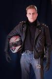 Motociclista com capacete Fotos de Stock Royalty Free