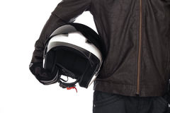 Motociclista con il casco Fotografia Stock