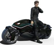 Motociclista considerável isolado ilustração stock