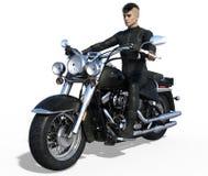 Motociclista considerável isolado Fotografia de Stock Royalty Free