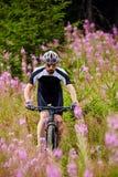 Motociclista da montanha em fugas Imagem de Stock