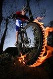 Motociclista della montagna Fotografie Stock