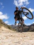 Motociclista della montagna nell'azione Fotografia Stock