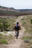 Motociclista della montagna sul ciclo del Rustler Fotografia Stock Libera da Diritti