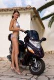 Motociclista della ragazza Fotografia Stock Libera da Diritti