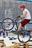 Motociclista di prova Fotografie Stock