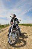 Motociclista di riposo Fotografia Stock