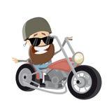 Motociclista divertente del fumetto che guida la sua bici Fotografie Stock