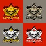Motociclista do crânio Cavaleiro do ferro Cópia para t-shirt e fato Imagem de Stock Royalty Free