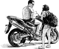 Motociclista e turista royalty illustrazione gratis