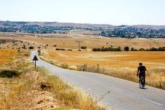 Motociclista em campos Imagem de Stock