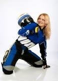 Motociclista grazioso felice. Fotografia Stock