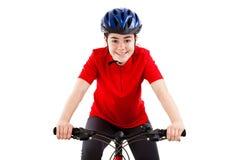 Motociclista isolado no fundo branco Imagem de Stock Royalty Free