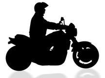 Motociclista isolato con il percorso di residuo della potatura meccanica illustrazione vettoriale