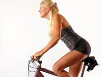 Motociclista louro Imagens de Stock